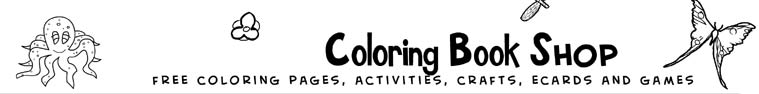 coloring book shop, free coloring page, activities, crafts, ecards and games